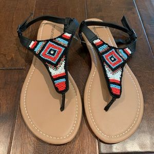 New Beaded thong sandals Aztec Maurices Alison